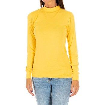 Textiel Dames T-shirts met lange mouwen Kisses And Love Long t-shirt Kisses&Love Geel
