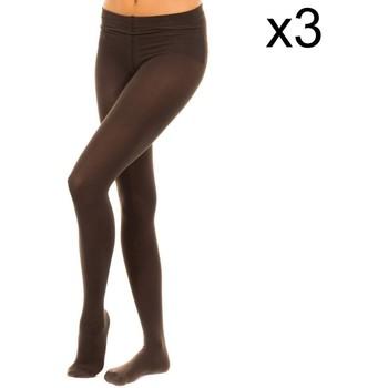 Ondergoed Dames Panty's/Kousen Vignoni Pack-3 Tupido Panty M.Fibra 200D Brown