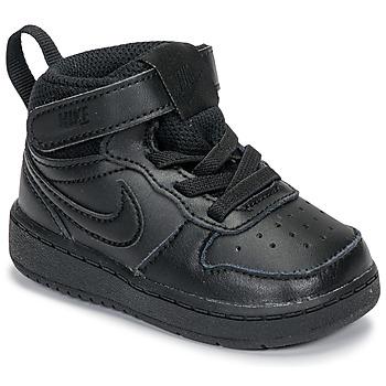 Schoenen Kinderen Hoge sneakers Nike COURT BOROUGH MID 2 TD Zwart