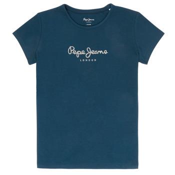 Textiel Meisjes T-shirts korte mouwen Pepe jeans HANA GLITTER Marine