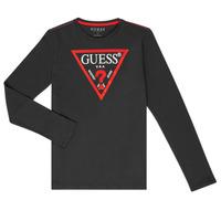 Textiel Jongens T-shirts met lange mouwen Guess HERVE Zwart
