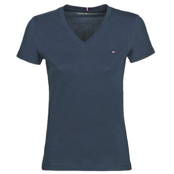 Textiel Dames T-shirts korte mouwen Tommy Hilfiger HERITAGE V-NECK TEE Marine