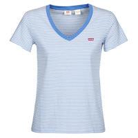 Textiel Dames T-shirts korte mouwen Levi's PERFECT VNECK Wit / Blauw
