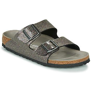 Schoenen Dames Leren slippers Birkenstock ARIZONA Zwart / Zilver
