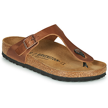 Schoenen Dames Slippers Birkenstock GIZEH LEATHER Antik / Bruin