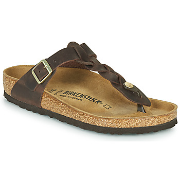 Schoenen Dames Slippers Birkenstock GIZEH  LEATHER Brown