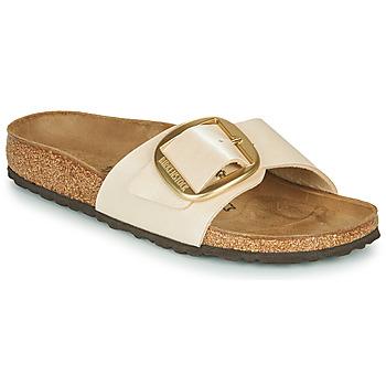 Schoenen Dames Leren slippers Birkenstock MADRID BIG BUCKLE Graceful / Pearl / Wit