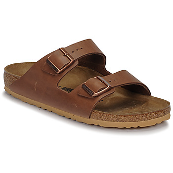 Schoenen Heren Leren slippers Birkenstock ARIZONA LEATHER Antik / Pull /  espresso