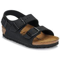 Schoenen Jongens Sandalen / Open schoenen Birkenstock MILANO Nubuck /  zwart