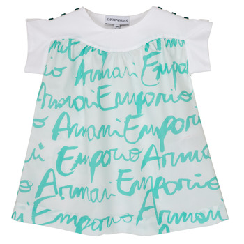 Textiel Meisjes T-shirts korte mouwen Emporio Armani Anas Wit / Blauw