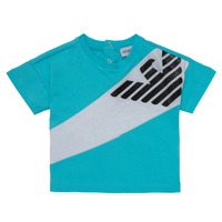 Textiel Jongens T-shirts korte mouwen Emporio Armani Alois Blauw / Wit
