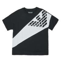 Textiel Jongens T-shirts korte mouwen Emporio Armani Blaise Zwart / Wit