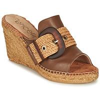 Schoenen Dames Leren slippers Fericelli MELISSA Cognac