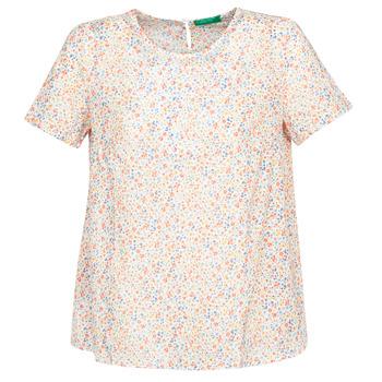 Textiel Dames Tops / Blousjes Benetton  Wit / Multikleuren