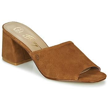 Schoenen Dames Leren slippers Betty London MELIDA Cognac