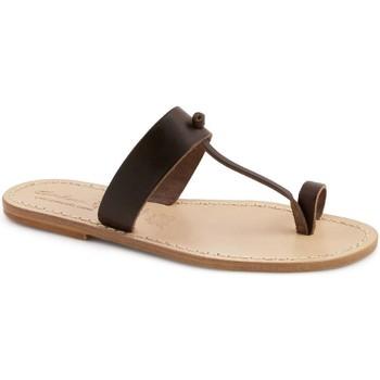 Schoenen Dames Leren slippers Gianluca - L'artigiano Del Cuoio 554 U MORO LGT-CUOIO Testa di Moro