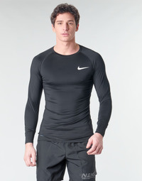 Textiel Heren T-shirts met lange mouwen Nike M NP TOP LS TIGHT Zwart / Wit