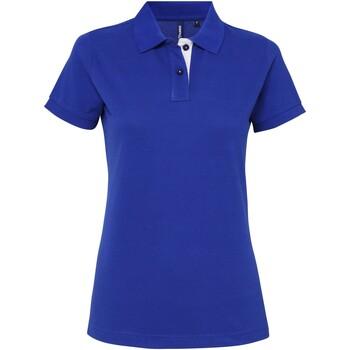 Textiel Dames Polo's korte mouwen Asquith & Fox Contrast Koninklijk / Wit