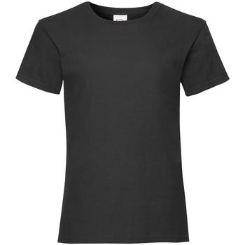 Textiel Meisjes T-shirts korte mouwen Fruit Of The Loom Valueweight Zwart