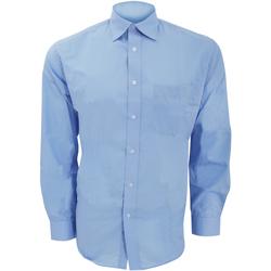 Textiel Heren Overhemden lange mouwen Kustom Kit KK104 Lichtblauw