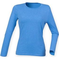 Textiel Dames T-shirts met lange mouwen Skinni Fit Stretch Heideblauw