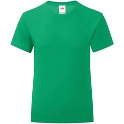 Textiel Meisjes T-shirts korte mouwen Fruit Of The Loom Iconic Kelly Groen