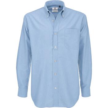 Textiel Heren Overhemden lange mouwen B And C Oxford Oxford Blauw