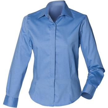 Textiel Dames Overhemden Henbury Oxford Bedrijfsblauw