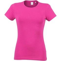Textiel Dames T-shirts korte mouwen Skinni Fit Stretch Heide Roze