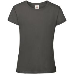Textiel Meisjes T-shirts korte mouwen Fruit Of The Loom Sofspun Licht Graphite