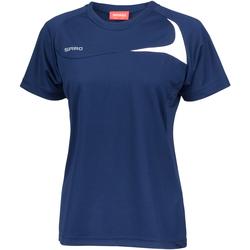 Textiel Dames T-shirts korte mouwen Spiro Performance Marine / Wit