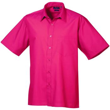 Textiel Heren Overhemden korte mouwen Premier Poplin Heet Roze