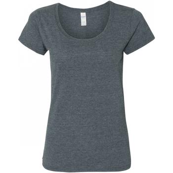 Textiel Dames T-shirts korte mouwen Gildan Scoop Donkere Heide