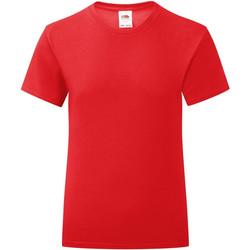 Textiel Meisjes T-shirts korte mouwen Fruit Of The Loom Iconic Rood