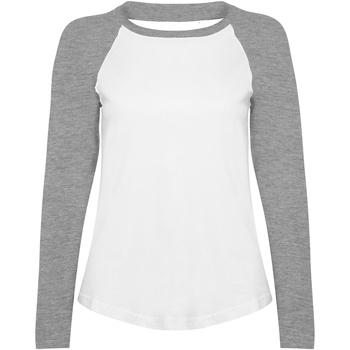 Textiel Dames T-shirts met lange mouwen Skinni Fit Baseball Wit / Heide Grijs