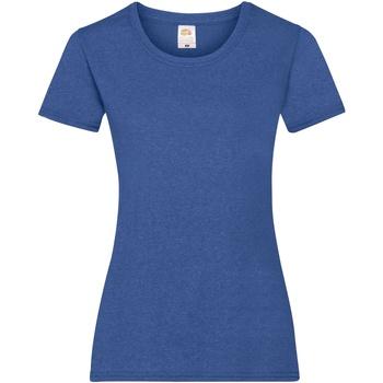 Textiel Dames T-shirts korte mouwen Fruit Of The Loom 61372 Retro Heather Royaal