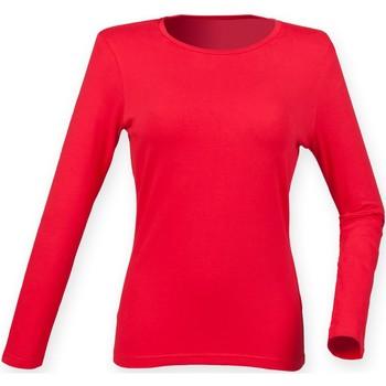 Textiel Dames T-shirts met lange mouwen Skinni Fit Stretch Helder rood