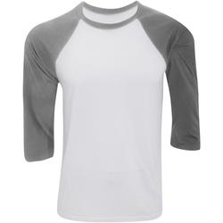 Textiel Heren T-shirts met lange mouwen Bella + Canvas Baseball Witte/diepe Heide