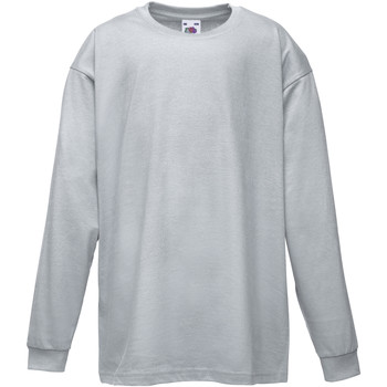 Textiel Kinderen T-shirts met lange mouwen Fruit Of The Loom 61007 Heather Grijs