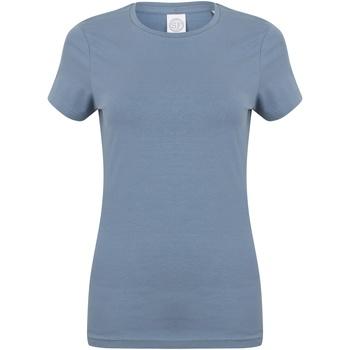 Textiel Dames T-shirts korte mouwen Skinni Fit Stretch Steen Blauw