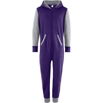Textiel Kinderen Jumpsuites / Tuinbroeken Comfy Co Contrast Paars/Heather Grey