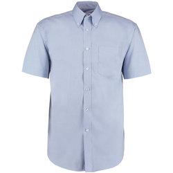 Textiel Heren Overhemden korte mouwen Kustom Kit Oxford Lichtblauw