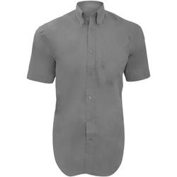 Textiel Heren Overhemden korte mouwen Kustom Kit Oxford Zilvergrijs