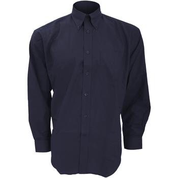 Textiel Heren Overhemden lange mouwen Kustom Kit Oxford Franse marine