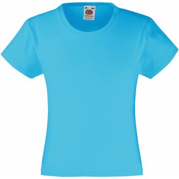 Textiel Meisjes T-shirts korte mouwen Fruit Of The Loom Valueweight Azure Blauw