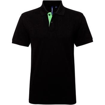 Textiel Heren Polo's korte mouwen Asquith & Fox Contrast Zwart/Kalk