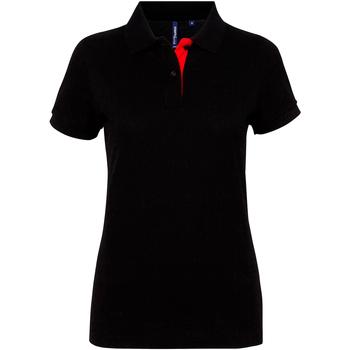 Textiel Dames Polo's korte mouwen Asquith & Fox Contrast Zwart / Rood