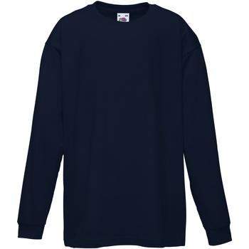 Textiel Kinderen T-shirts met lange mouwen Fruit Of The Loom 61007 Donker Marine