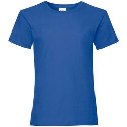Textiel Meisjes T-shirts korte mouwen Fruit Of The Loom 61005 Retro Heather Royaal Blauw