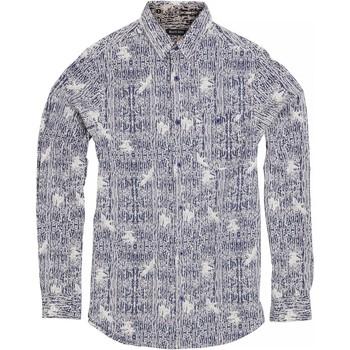 Textiel Heren Overhemden lange mouwen Brave Soul Idris Inkt / Optisch Wit
